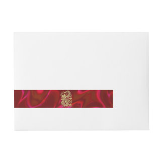Embossed Gold Dragon on Red Satin Print Wrap Around Address Label