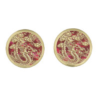 Embossed Gold Dragon on Red Satin Gold Finish Cufflinks (<em>$39.95</em>)