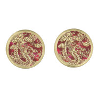 Embossed Gold Dragon on Red Satin Gold Finish Cufflinks (<em>$39.95</em>)