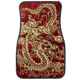 Embossed Gold Dragon on Red Satin Floor Mat