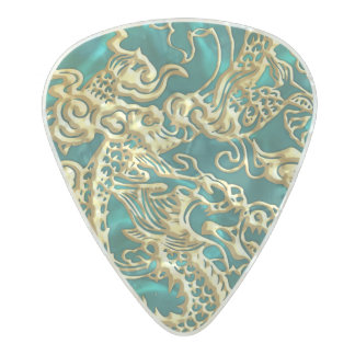 Embossed Gold Dragon on Turquiose Satin Pearl Celluloid Guitar Pick