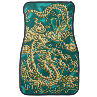 Embossed Gold Dragon on Turquiose Satin Floor Mat