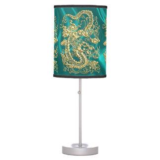 Embossed Gold Dragon on Turquoise Satin Desk Lamp