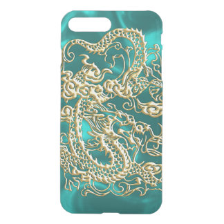 Embossed Gold Dragon on Turquoise Satin iPhone 8 Plus/7 Plus Case