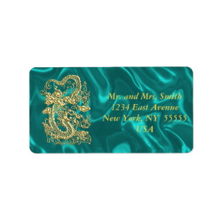 Embossed Gold Dragon on Turquoise Satin Custom Address Labels