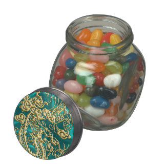 Embossed Gold Dragon on Turquoise Satin Print Glass Candy Jar