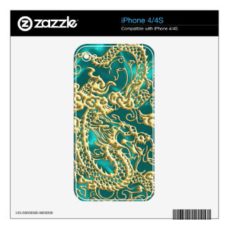 Embossed Gold Dragon on Turquoise Satin Print iPhone 4 Decals