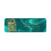 Embossed Gold Dragon on Turquoise Satin Print Label (<em>$4.00</em>)