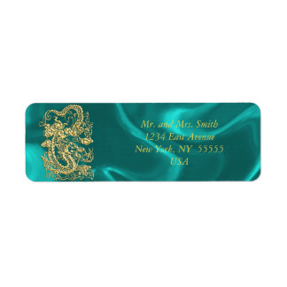 Embossed Gold Dragon on Turquoise Satin Print Label