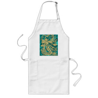 Embossed Gold Dragon on Turquoise Satin Print Long Apron
