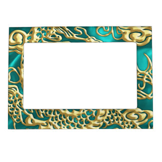 Embossed Gold Dragon on Turquoise Satin Print Magnetic Picture Frame