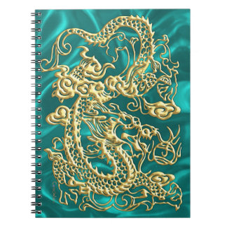 Embossed Gold Dragon on Turquoise Satin Print Notebook