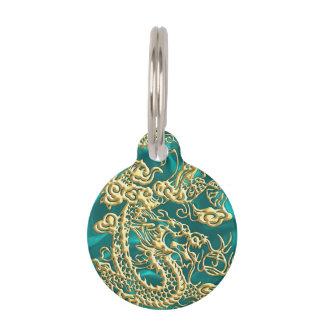 Embossed Gold Dragon on Turquoise Satin Print Pet Name Tag