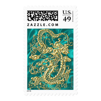 Embossed Gold Dragon on Turquoise Satin Print Postage