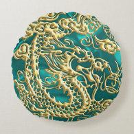 Embossed Gold Dragon on Turquoise Satin Print Round Pillow (<em>$39.30</em>)