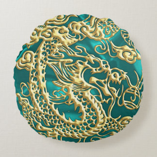 Embossed Gold Dragon on Turquoise Satin Print Round Pillow