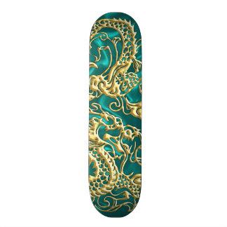 Embossed Gold Dragon on Turquoise Satin Print Skateboard