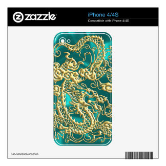Embossed Gold Dragon on Turquoise Satin Print Skin For iPhone 4