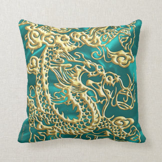 Embossed Gold Dragon on Turquoise Satin Print Throw Pillow