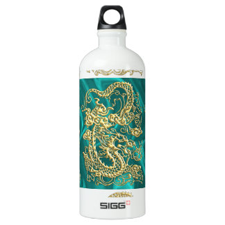 Embossed Gold Dragon on Turquoise Satin Water Bottle