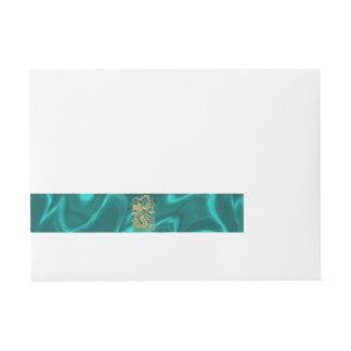 Embossed Gold Dragon on Turquoise Satin Wraparound Address Label