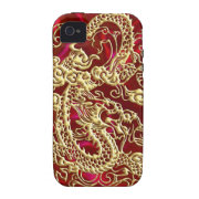 Embossed Gold Dragon Red Satin iPhone Case Case For The iPhone 4 (<em>$53.95</em>)