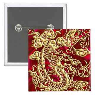 Embossed Gold Dragon Red Satin iPhone Case 2 Inch Square Button