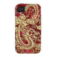 Embossed Gold Dragon Red Satin iPhone Case Case For The iPhone 4 (<em>$41.50</em>)