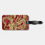 Embossed Gold Dragon Red Satin Tag For Bags