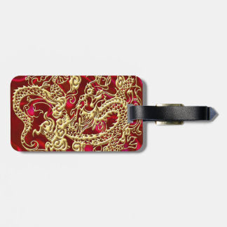 Embossed Gold Dragon Red Satin Tag For Luggage