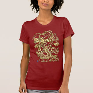 Embossed Gold Dragon Red T-shirt