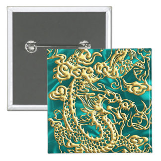 Embossed Gold Dragon Turquoise Satin 2 Inch Square Button