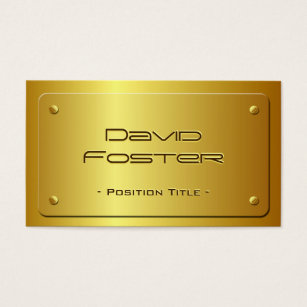 Embossed metal business cards templates zazzle embossed gold plate look shiny luxury business card reheart Images