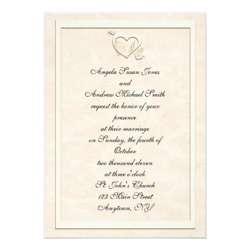 Embossed Look Heart Frame Wedding Invitation 5 X 7 Invitation Car