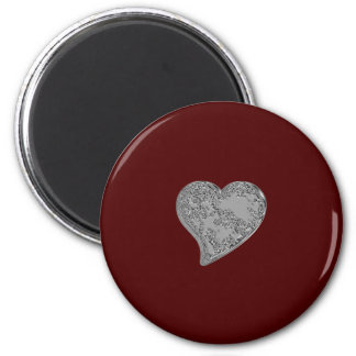 Embossed Heart on Red 2 Inch Round Magnet