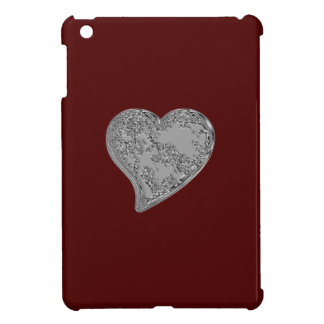 Embossed Heart on Red Case For The iPad Mini