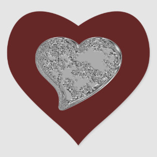 Embossed Heart on Red Heart Sticker