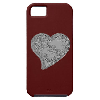 Embossed Heart on Red iPhone SE/5/5s Case