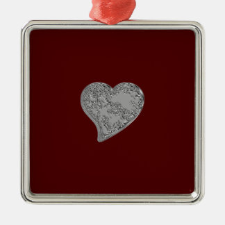 Embossed Heart on Red Metal Ornament