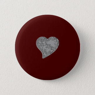 Embossed Heart on Red Pinback Button