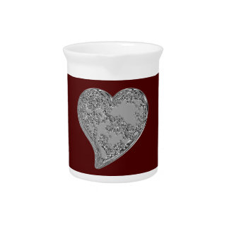 Embossed Heart on Red Pitcher