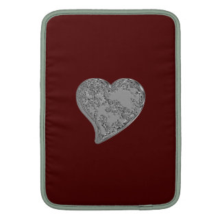 Embossed Heart on Red Sleeve For MacBook Air