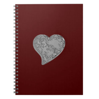 Embossed Heart on Red Spiral Notebook