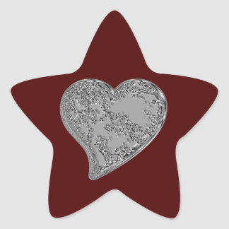 Embossed Heart on Red Star Sticker