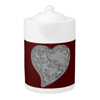 Embossed Heart on Red Teapot