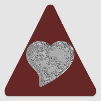 Embossed Heart on Red Triangle Sticker
