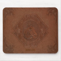 Embossed horse-head brown vintage leather mouse pad