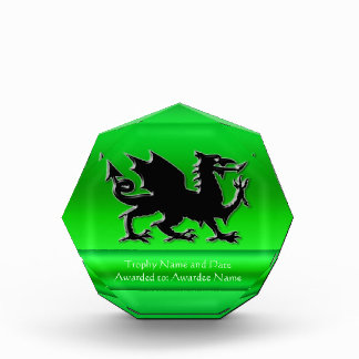 Embossed-look Black Dragon on green chrome-effect Award