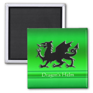 Embossed-look Black Dragon on green chrome-effect Magnet
