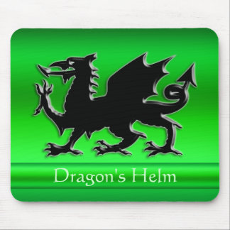 Embossed-look Black Dragon on green chrome-effect Mouse Pad
